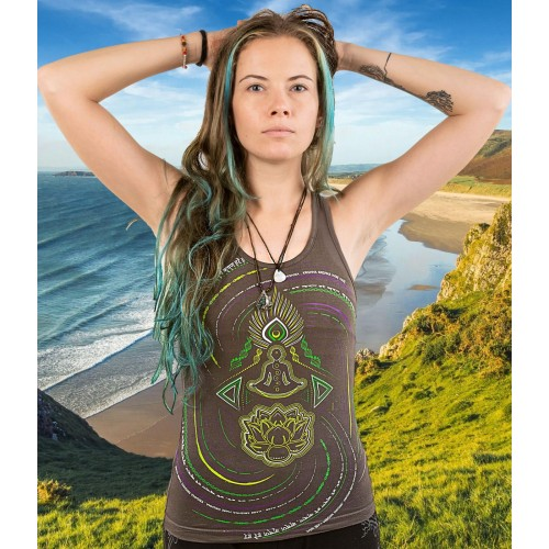 HARE KRISHNA Mantra UV Glow Psy Women's Cotton Tank Top