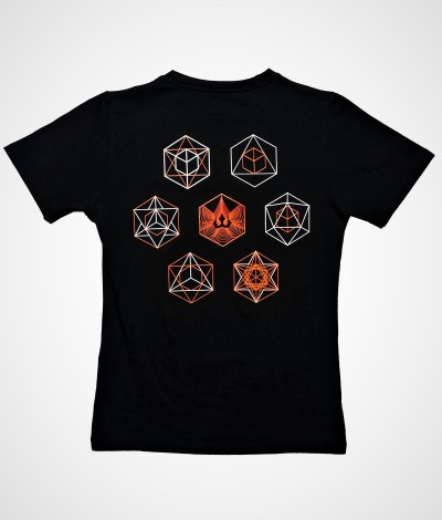 COSMIC BUILDING BLOCKS Sacred Geometry UV Glow Psy Womens Cotton T-shirt.