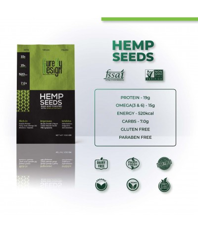 Hemp Seeds Toasted With Pink Himalayan Salt 500g